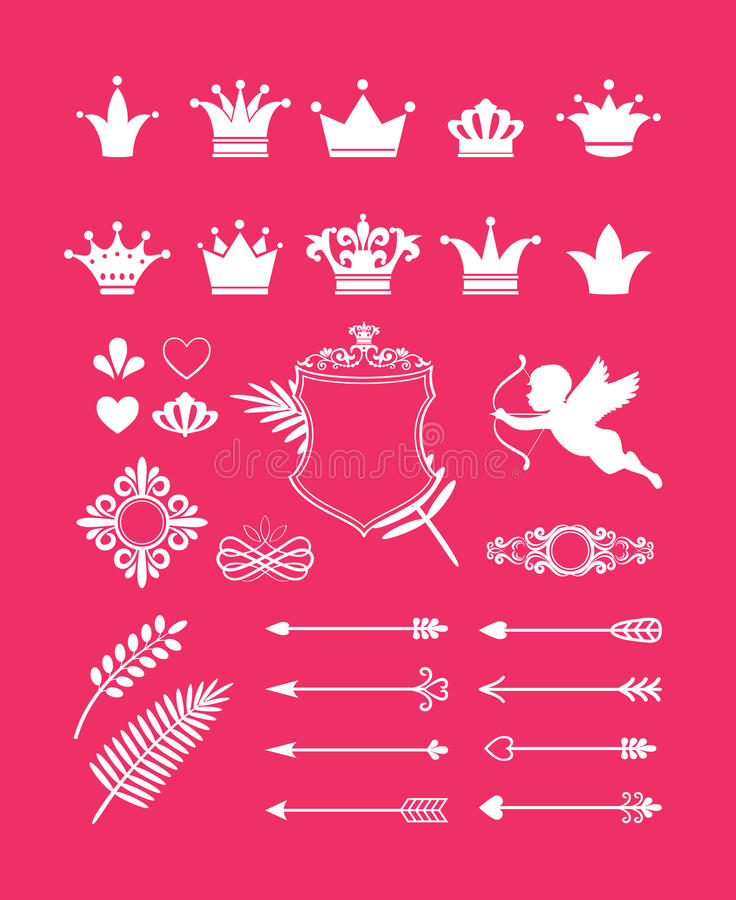 Розовое оформление с кронами бесплатная иллюстрация