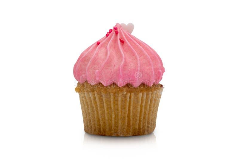 Розовое пирожное клубники изолированное на белой предпосылке стоковое фото rf