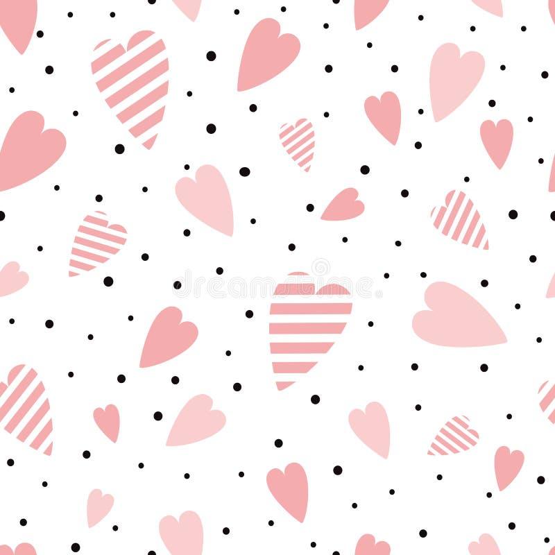 Розовое сердце гладко розовый узор сердце украшено черная полка декоративно-точечный орнамент любовь фон день валентин печать бесплатная иллюстрация