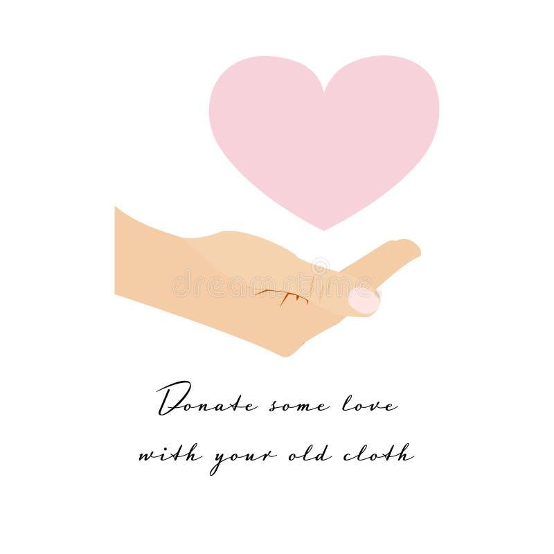 Розовое сердце над приданными форму чашки белыми человеческими рукой и текстом иллюстрация штока