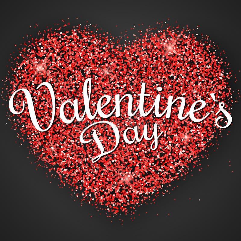 Розовое сердце розовых ярких блесков с каллиграфией на день Валентайн Темная предпосылка Графический роскошный элемент Гениальный бесплатная иллюстрация