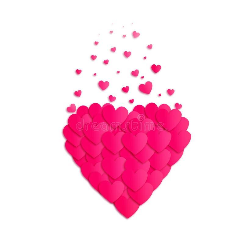Розовое сердце состоит из небольших сердец на белой предпосылке изолировано День ` s валентинки, предпосылка дня ` s матери бесплатная иллюстрация