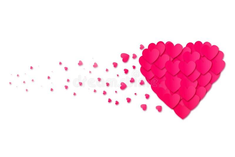 Розовое сердце состоит из небольших сердец на белой предпосылке изолировано День ` s валентинки, предпосылка дня ` s матери иллюстрация вектора