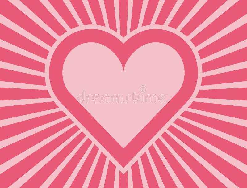 Розовое сердце с радиальным планом лучей иллюстрация штока