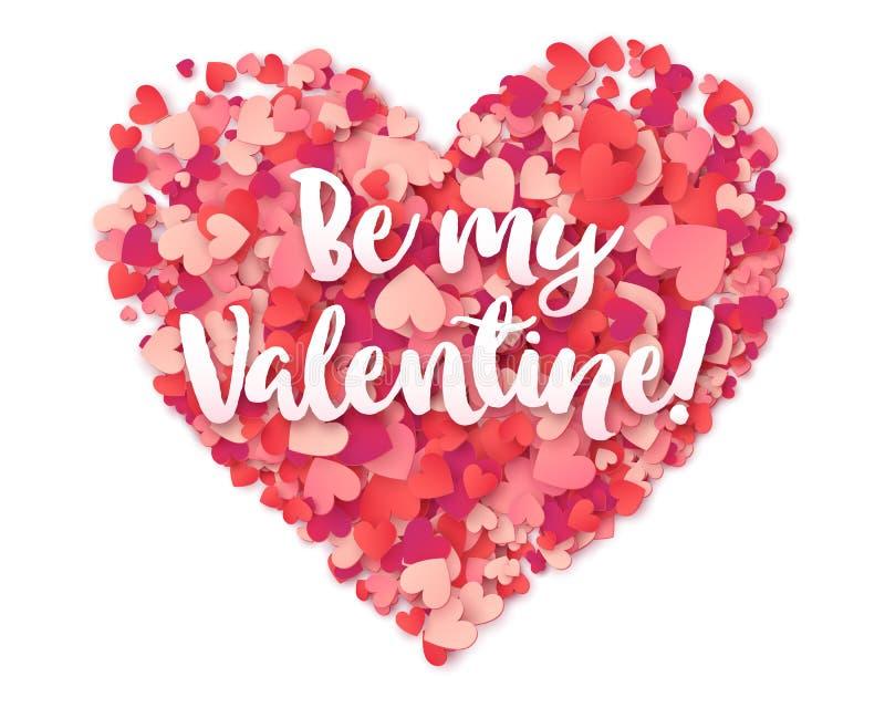 Розовое сердце вектора confetti с белым каллиграфическим знаком моя валентинка бесплатная иллюстрация