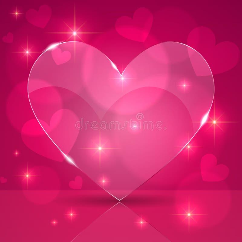 Розовое тонкое светя стеклянное сердце на предпосылке светов иллюстрация штока