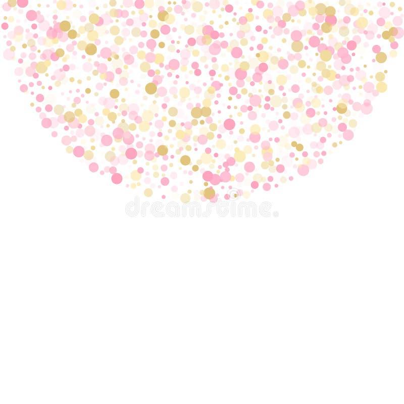 Розовое украшение круга confetti золота для карты приглашения партии бесплатная иллюстрация