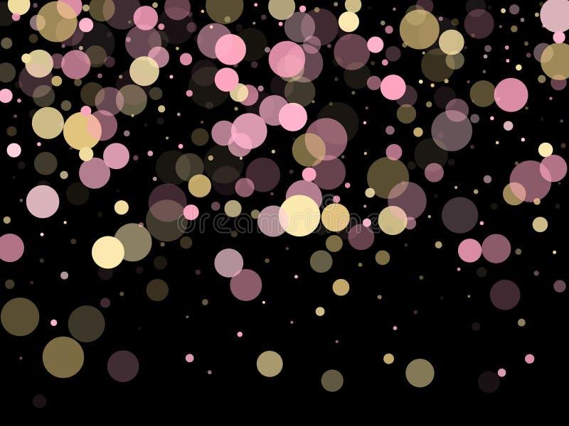 Розовое украшение круга confetti золота для карты приглашения партии иллюстрация вектора