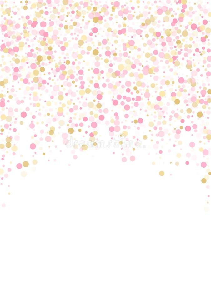 Розовое украшение круга confetti золота для предпосылки карты Валентайн бесплатная иллюстрация