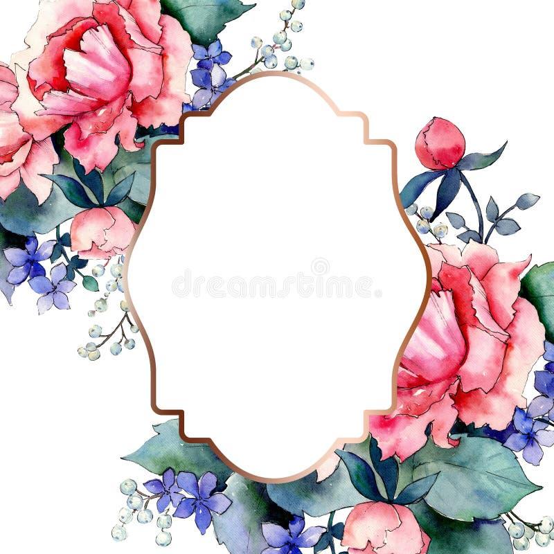 Розовые букетные цветочные ботанические цветы Набор иллюстраций цвета воды Граница рамки бесплатная иллюстрация