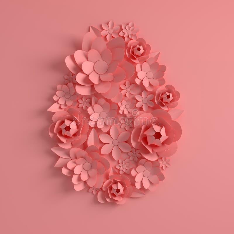 Розовые бумажные цветки, форма пасхального яйца Счастливый шаблон поздравительной открытки пасхи 3d представляют в пастельных цве иллюстрация вектора