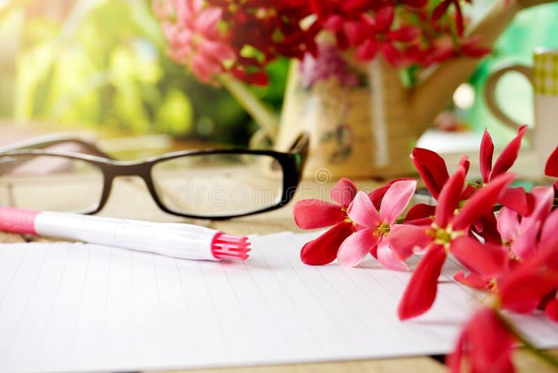 Розовые дело страницы бумаги тетради цветка или предпосылка образования стоковая фотография