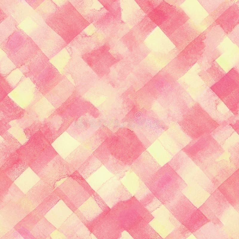 Розовые, желтые линии и квадраты покрасили акварель бесплатная иллюстрация