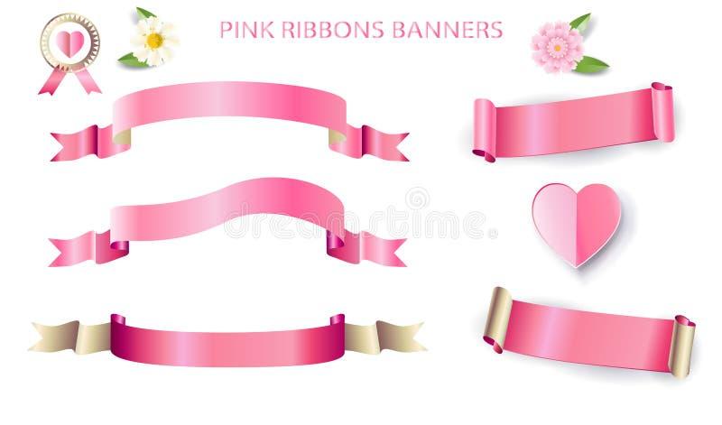 Розовые знамена лент перечисляют набор ярлыков сердца и стикеров цветков иллюстрация вектора