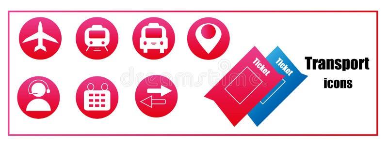 Розовые значки для покупать снабжают онлайн билетами для транспорта иллюстрация вектора
