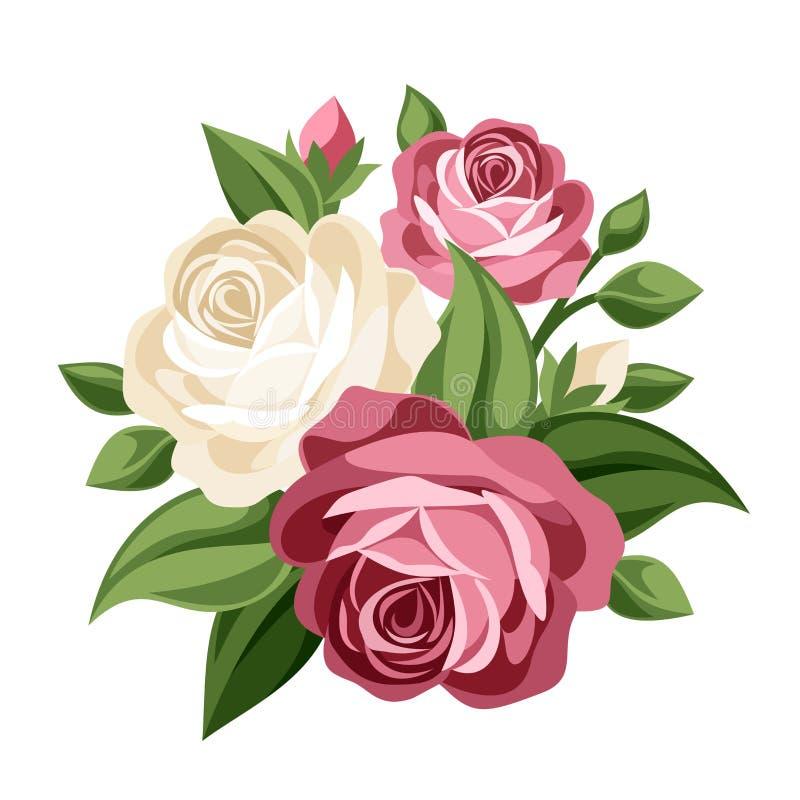 Розовые и белые винтажные розы. бесплатная иллюстрация