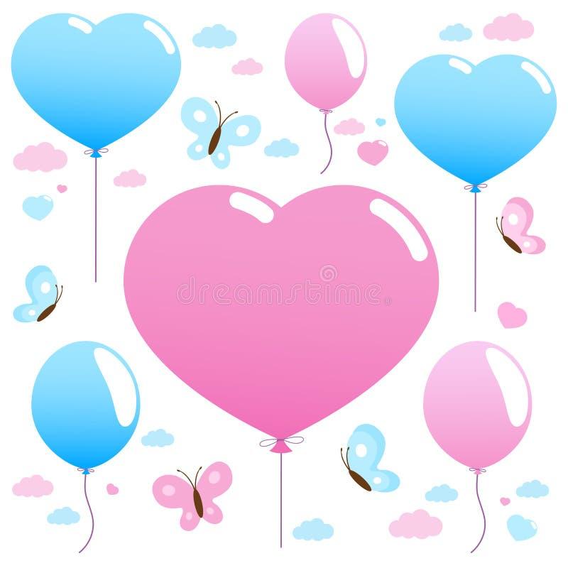 Розовые и голубые воздушные шары и бабочки летая в небо иллюстрация вектора
