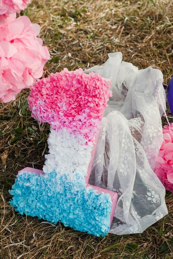 Розовые и голубые pompoms на первой вечеринке по случаю дня рождения внешней стоковое фото
