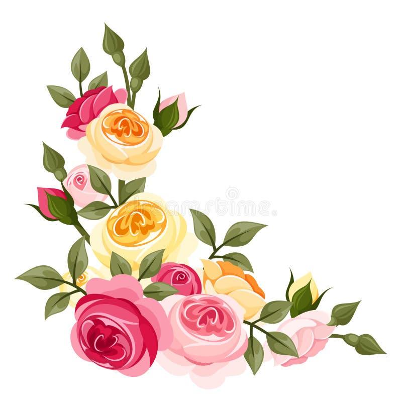 Розовые и желтые винтажные розы. иллюстрация вектора