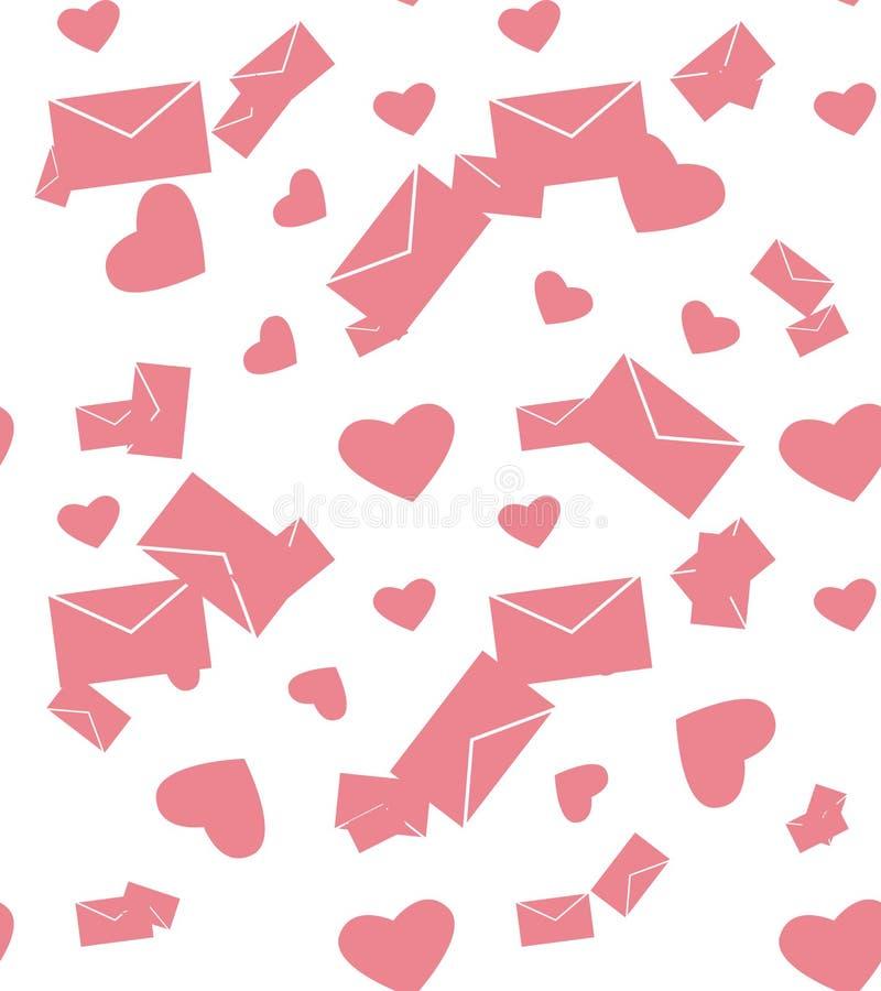 Розовые конверт и сердца иллюстрация вектора
