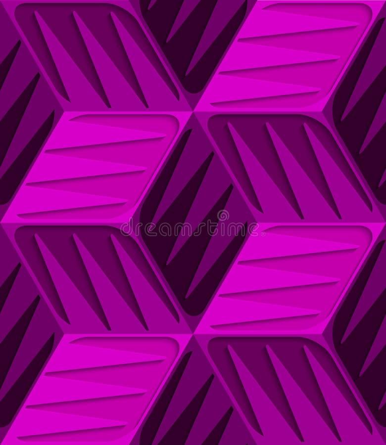 Розовые кубы 3d с выбитой картиной текстуры безшовной иллюстрация вектора
