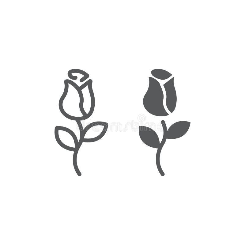 Розовые линия и значок глифа, любовь и флористическое, знак цветка, векторные графики, линейная картина на белой предпосылке иллюстрация вектора