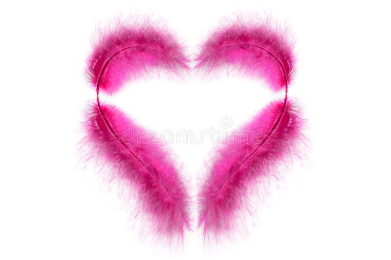 Розовые пер в форме сердца ` s валентинки на белой предпосылке сердце изолировало стоковая фотография rf