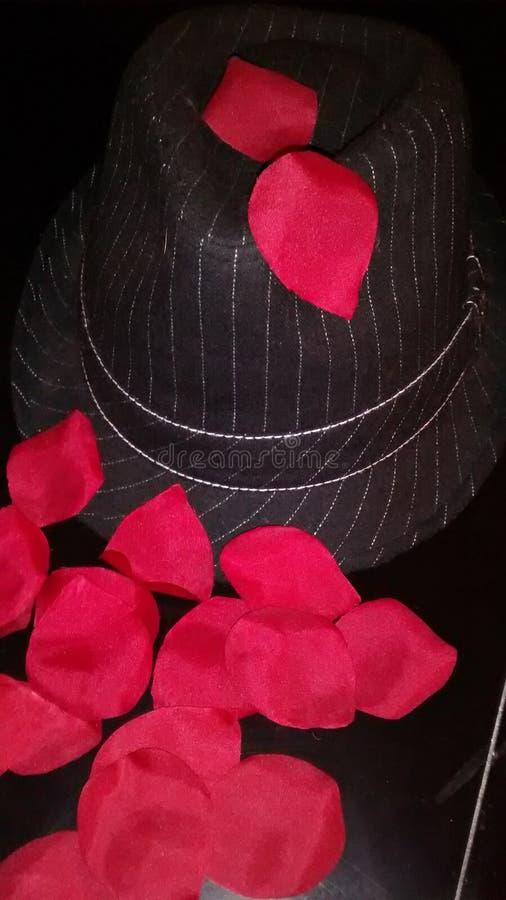 Розовые педали с шляпой стоковое изображение rf