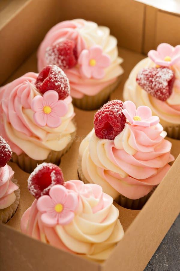 Розовые пирожные ванили и поленики стоковые изображения