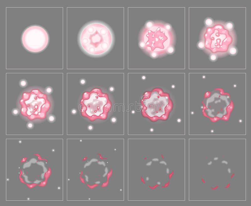 Розовые рамки анимации специального эффекта взрыва огня