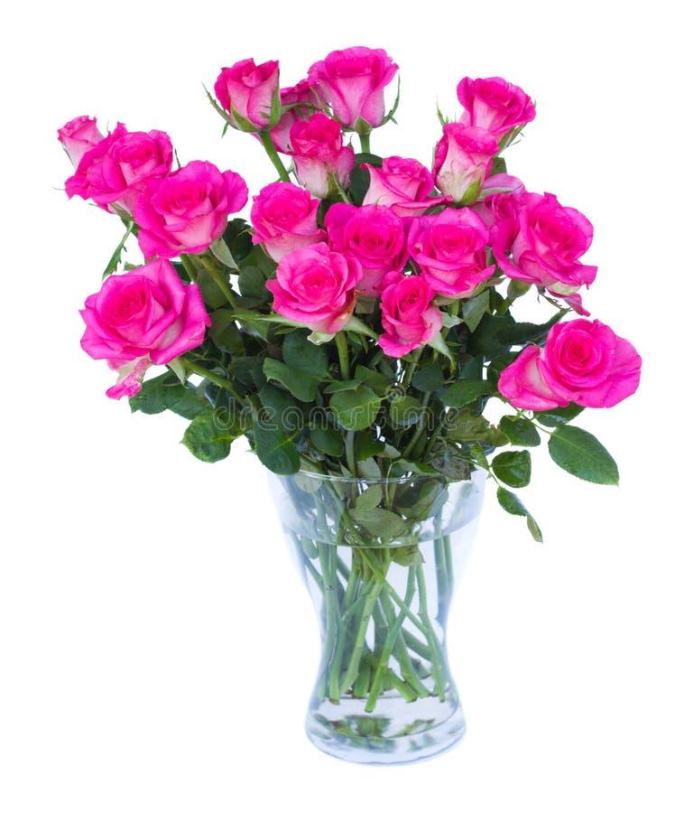 Розовые розы в вазе стоковое фото