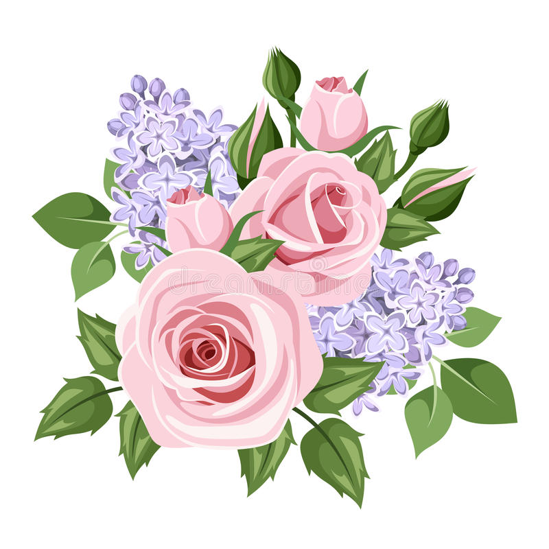 Розовые розы и цветки сирени также вектор иллюстрации притяжки corel иллюстрация штока
