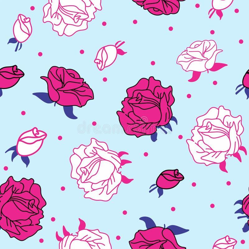 Розовые розы на голубой предпосылке безшовной бесплатная иллюстрация