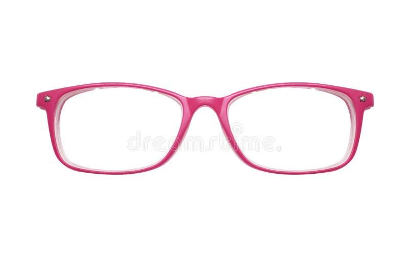Розовые стекла на белой предпосылке Способ разносторонне фото стоковые изображения