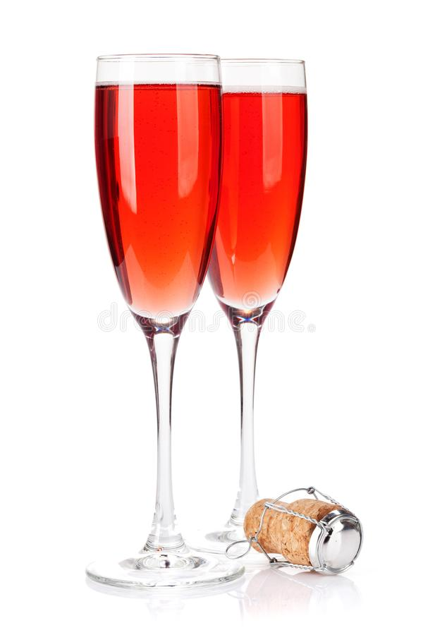 Розовые стекла шампанского стоковое изображение