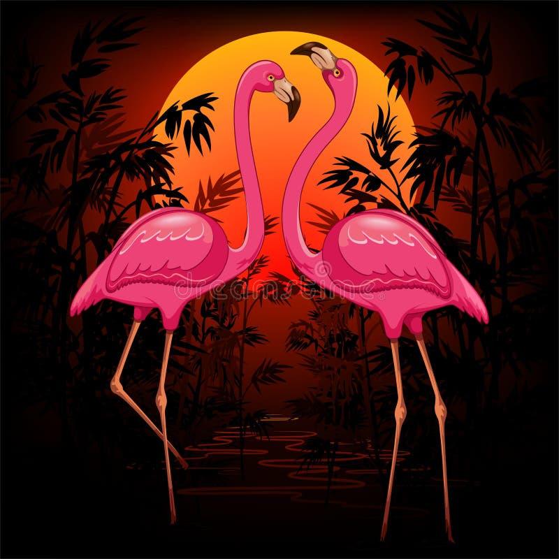 Розовые фламинго на теплой тропической иллюстрации вектора захода солнца бесплатная иллюстрация