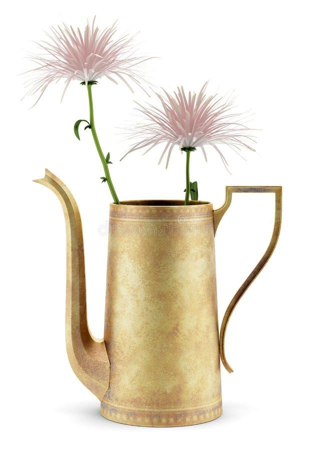 Розовые цветки в чайнике изолированном на белизне бесплатная иллюстрация