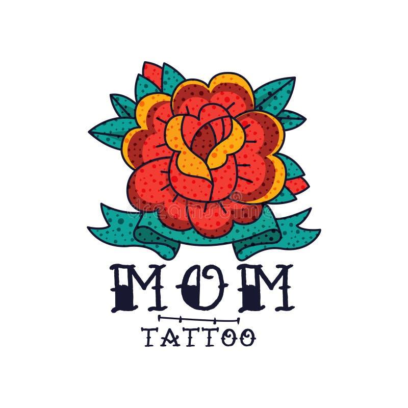 Розовые цветок, лента и мама слова, классическая американская иллюстрация вектора татуировки старой школы на белой предпосылке иллюстрация вектора