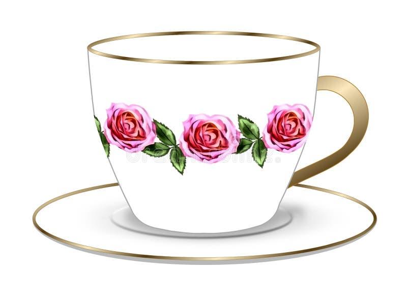 Розовые чашка и поддонник чая иллюстрация вектора