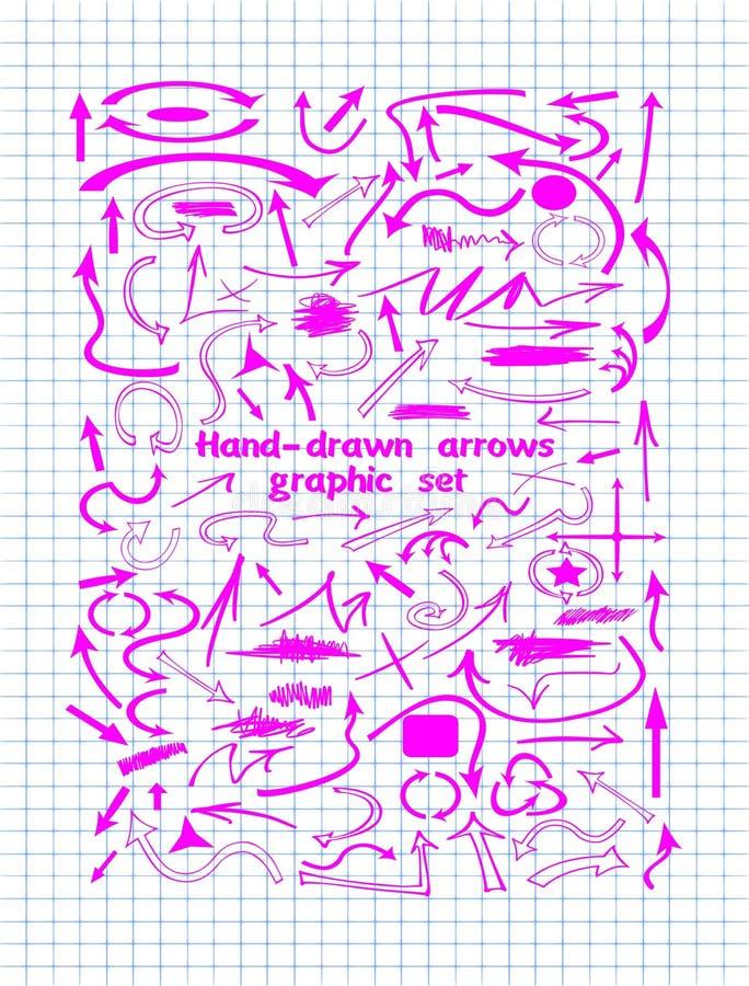 Розовые элементы графического дизайна и нарисованные вручную стрелки иллюстрация вектора
