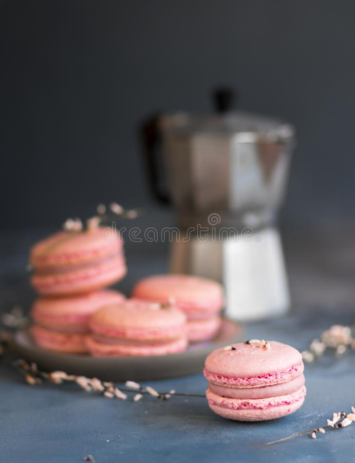 Розовые macarons клубники и кувшин молока на серой предпосылке стоковая фотография rf