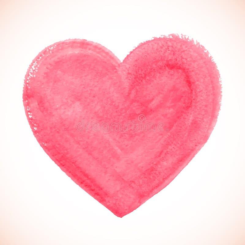 Розовый акриловый цвет текстурировал покрашенное сердце иллюстрация штока