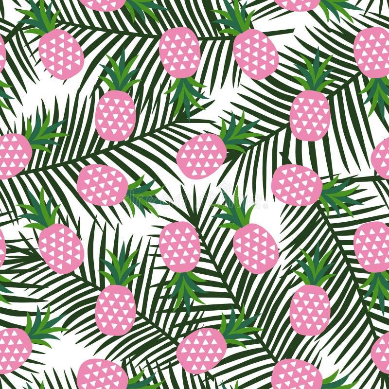 Розовый ананас с лета плодоовощ треугольников бывшим геометрического тропическое иллюстрация штока