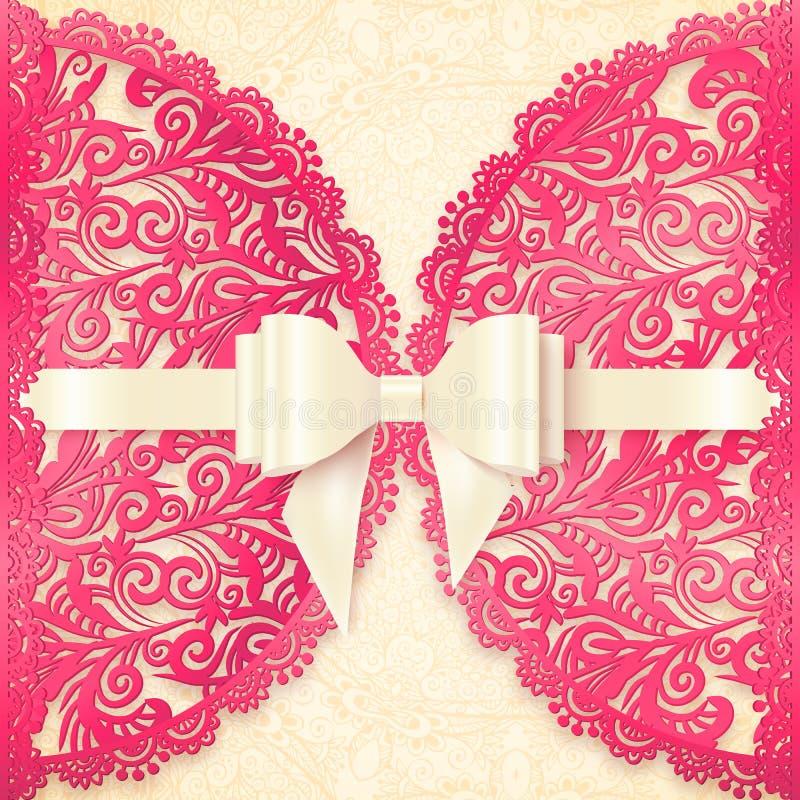 Розовый богато украшенный шаблон поздравительной открытки вектора шнурка бесплатная иллюстрация