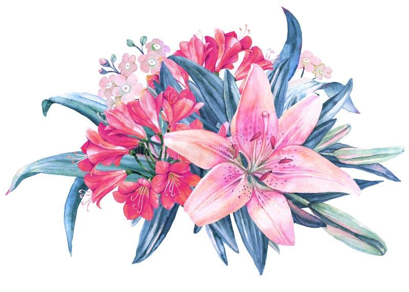 Розовый букет акварели цветка лилии иллюстрация штока