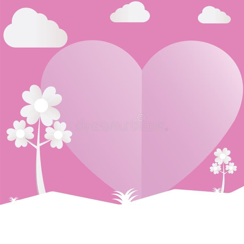 Розовый бумажный день валентинки влюбленности с облаками бесплатная иллюстрация