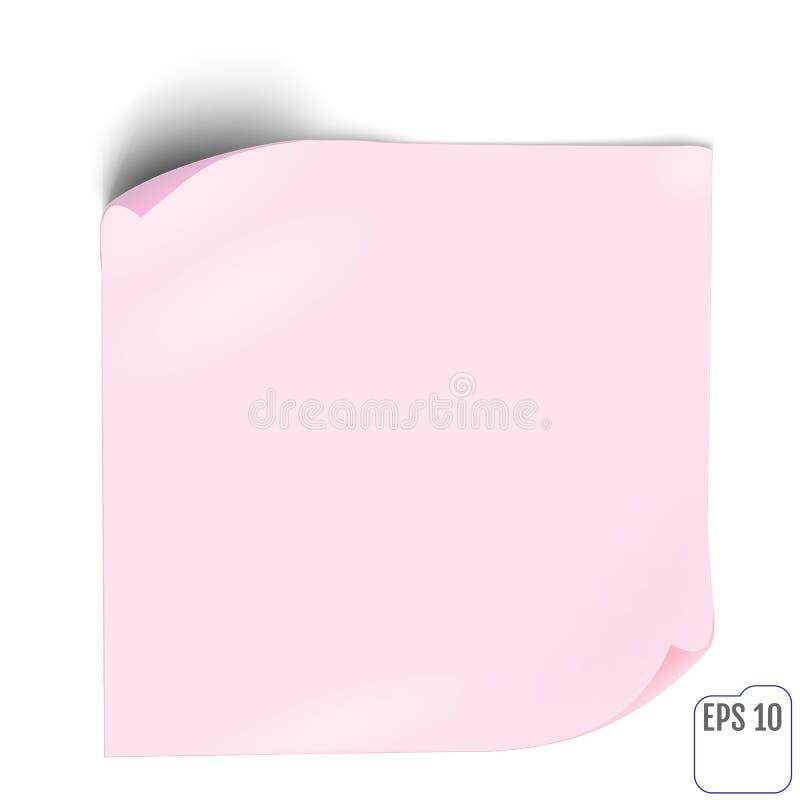 Розовый бумажный стикер с тенью Пустые знамя сети или ярлык o скручиваемости бесплатная иллюстрация