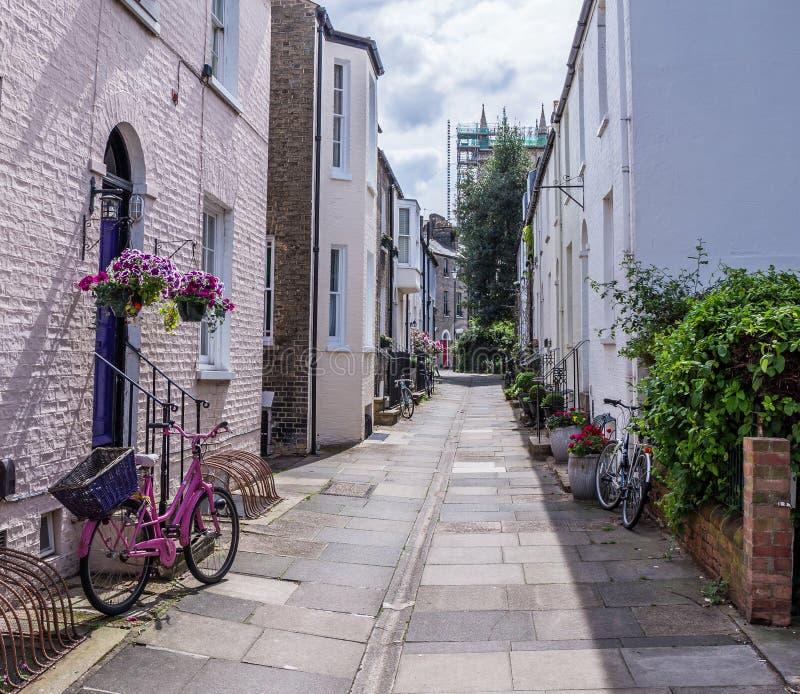 Розовый велосипед на узкой улице Кембриджа стоковые изображения rf