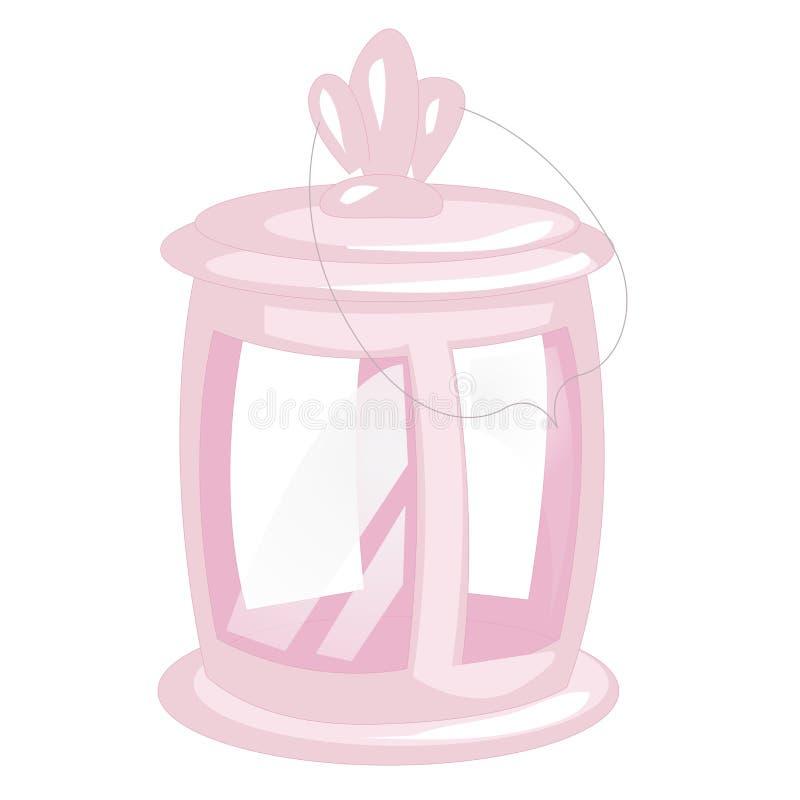Розовый винтажный располагаясь лагерем фонарик изолированный на белой предпосылке Ретро иллюстрация лампы Лампы ручки для туристс иллюстрация штока