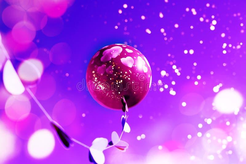 Розовый воздушный шар на небе стоковая фотография rf